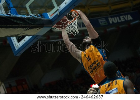 VALENCIA, SPAIN - JANUARY 21: Dubljevic during Eurocup match between Valencia Basket Club and CSU Asesoft at Fonteta Stadium on January 21, 2015 in Valencia, Spain - stock photo