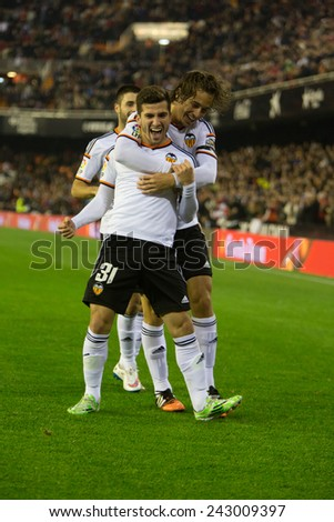 VALENCIA, SPAIN - JANUARY 4: Gaya (31) during Spanish King Cup match between Valencia CF and RCD Espanyol at Mestalla Stadium on January 4, 2015 in Valencia, Spain - stock photo
