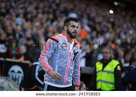 VALENCIA, SPAIN - JANUARY 4: Negredo during Spanish League match between Valencia CF and Real Madrid at Mestalla Stadium on January 4, 2015 in Valencia, Spain - stock photo