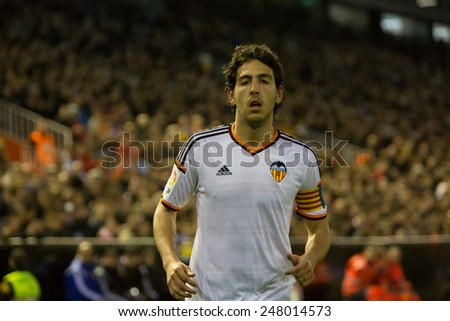 VALENCIA, SPAIN - JANUARY 25: Parejo during Spanish League match between Valencia CF and Sevilla FC at Mestalla Stadium on January 25, 2015 in Valencia, Spain - stock photo