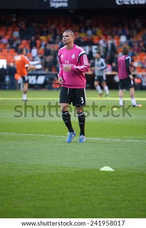 VALENCIA, SPAIN - JANUARY 4: Pepe during Spanish League match between Valencia CF and Real Madrid at Mestalla Stadium on January 4, 2015 in Valencia, Spain - stock photo