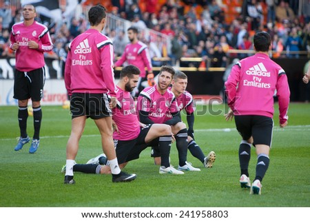 VALENCIA, SPAIN - JANUARY 4: Real Madrid players during Spanish League match between Valencia CF and Real Madrid at Mestalla Stadium on January 4, 2015 in Valencia, Spain - stock photo