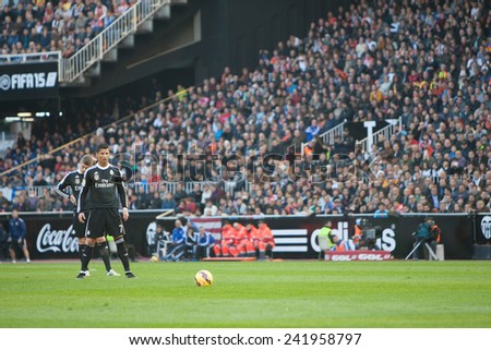VALENCIA, SPAIN - JANUARY 4: Ronaldo (7) during Spanish League match between Valencia CF and Real Madrid at Mestalla Stadium on January 4, 2015 in Valencia, Spain - stock photo