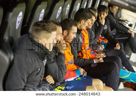 VALENCIA, SPAIN - JANUARY 25: Sevilla players on the bench during Spanish League match between Valencia CF and Sevilla FC at Mestalla Stadium on January 25, 2015 in Valencia, Spain - stock photo