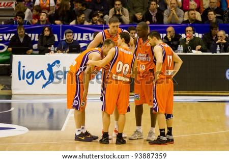 VALENCIA, SPAIN - JANUARY 28: Team Valencia Basket planning strategy during the ACB league match between Valencia Basket  and Asefa Estudiantes, 85-71, on January 28, 2012, in Valencia, Spain - stock photo