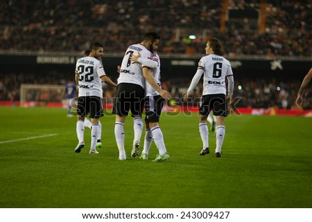VALENCIA, SPAIN - JANUARY 4: Valencia players during Spanish King Cup match between Valencia CF and RCD Espanyol at Mestalla Stadium on January 4, 2015 in Valencia, Spain - stock photo