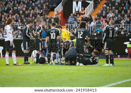 VALENCIA, SPAIN - JANUARY 4: Various players during Spanish League match between Valencia CF and Real Madrid at Mestalla Stadium on January 4, 2015 in Valencia, Spain - stock photo