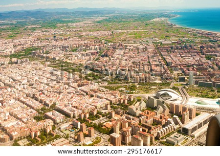 VALENCIA, SPAIN - JULY 06, 2015: Aerial view on City of Arts and Sciences in Valencia, Spain - stock photo