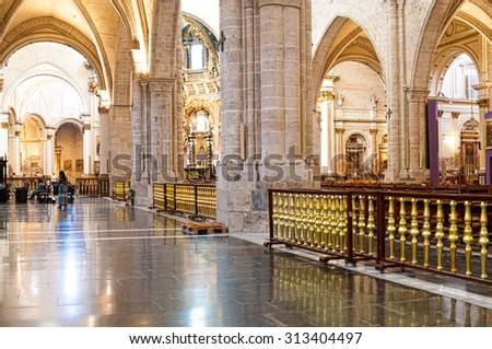 VALENCIA, SPAIN - JULY 06, 2015: Interior of Valencia cathedral temple in Valencia, Spain - stock photo