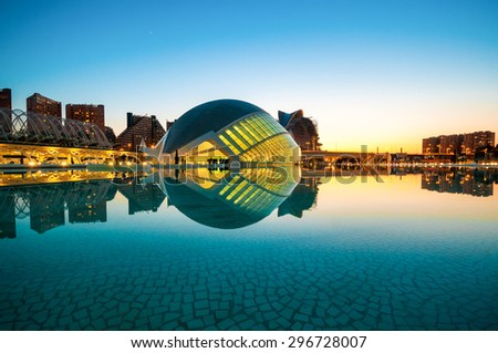 VALENCIA; SPAIN - JULY 14; 2015:  The city of the Arts and Sciences in Valencia, Spain. - stock photo
