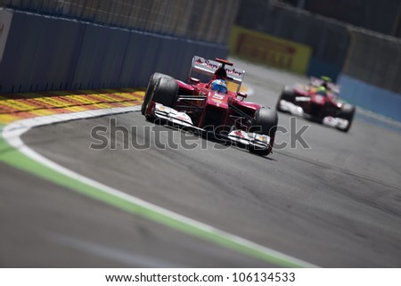 VALENCIA, SPAIN - JUNE 24: Fernando Alonso in the Formula 1 Grand Prix of Europe, Valencia Street Circuit. Spain on June 24, 2012 - stock photo