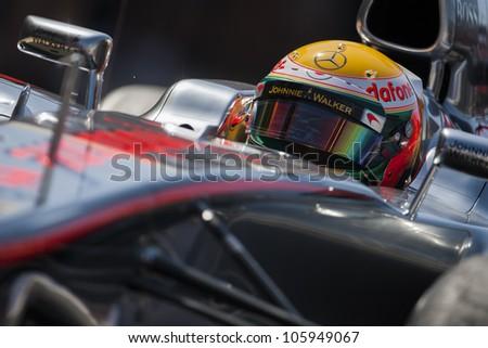 VALENCIA, SPAIN - JUNE 23: Lewis Hamilton in the Formula 1 Grand Prix of Europe, Valencia Street Circuit. Spain on June 23, 2012 - stock photo