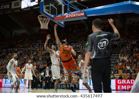 VALENCIA, SPAIN - JUNE 9th: Dubljevic with ball during 4th playoff match between Valencia Basket and Real Madrid at Fonteta Stadium on June 9, 2016 in Valencia, Spain - stock photo