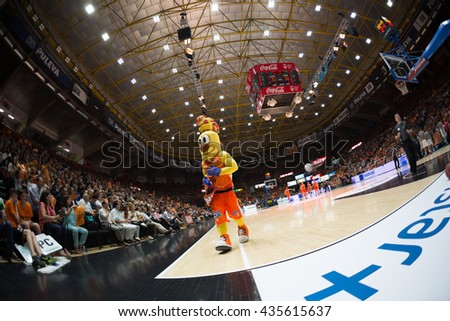VALENCIA, SPAIN - JUNE 9th: during 4th playoff match between Valencia Basket and Real Madrid at Fonteta Stadium on June 9, 2016 in Valencia, Spain - stock photo