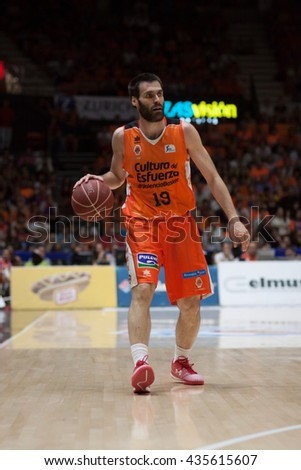 VALENCIA, SPAIN - JUNE 9th: San Emeterio during 4th playoff match between Valencia Basket and Real Madrid at Fonteta Stadium on June 9, 2016 in Valencia, Spain - stock photo