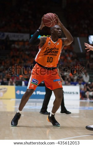 VALENCIA, SPAIN - JUNE 9th: Sato during 4th playoff match between Valencia Basket and Real Madrid at Fonteta Stadium on June 9, 2016 in Valencia, Spain - stock photo