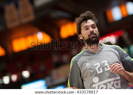 VALENCIA, SPAIN - JUNE 7th: Sergio Llull during 3rd playoff match between Valencia Basket and Real Madrid at Fonteta Stadium on June 7, 2016 in Valencia, Spain - stock photo