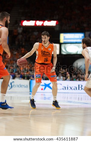 VALENCIA, SPAIN - JUNE 9th: Vives with ball during 4th playoff match between Valencia Basket and Real Madrid at Fonteta Stadium on June 9, 2016 in Valencia, Spain - stock photo