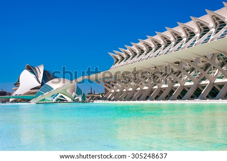 VALENCIA, SPAIN - JUNE 20, 2015:  The city of the Arts and Sciences in Valencia, Spain. - stock photo