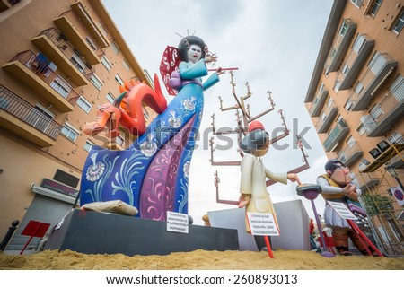 """VALENCIA, SPAIN - MARCH 15: Detailed view of """"Pedro Cabanes - Juan XXIII"""" falla for """"Las Fallas"""" (""""the fires"""" in Valencian) exhibition on march 15, 2015 in Valencia, Spain - stock photo"""