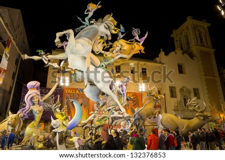 "VALENCIA, SPAIN - MARCH 14: Many people visit ""El Pilar"" falla for ""Las Fallas"" (""the fires"" in Valencian) exhibition on march 14, 2013 in Valencia, Spain - stock photo"