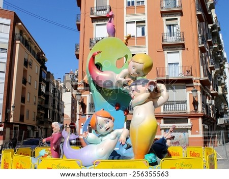VALENCIA, SPAIN - MARCH 16, 2014: Mermaids Fallas or Falles Monuments created to celebrate St. Joseph, on March 16, 2014 in Valencia, Spain. It's a Festival of fire, satire, music and firecrackers - stock photo