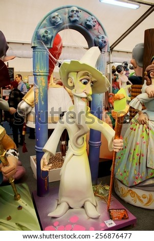 VALENCIA, SPAIN - MARCH 28: Ninot exposition takes place the weeks before Fallas on March 28, 2015 in Valencia, Spain. The most voted ninot will be saved from the flames and moved to the fallas Museum - stock photo