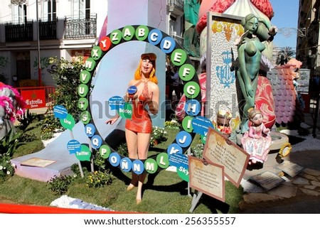 VALENCIA, SPAIN - MARCH 16, 2014: Pasapalabra Fallas or Falles Monuments created to celebrate St. Joseph, on March 16, 2014 in Valencia, Spain. It's a Festival of fire, satire, music and firecrackers - stock photo