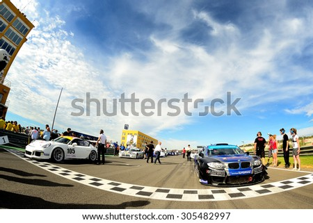 VALENCIA, SPAIN - MAY 2: Grid in the Spanish Endurance Championship, at Ricardo Tormo's Circuit, on May 2, 2015 in Cheste, Spain. - stock photo