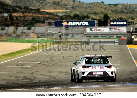 VALENCIA, SPAIN - MAY 2: Italian driver Lorenzo Veglia races in a Seat Leon Cup Racer in the Spanish Endurance Championship, at Ricardo Tormo's Circuit, on May 2, 2015 in Cheste, Spain. - stock photo