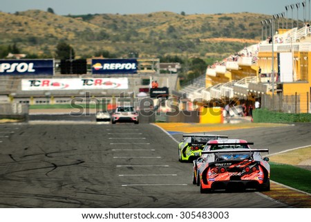 VALENCIA, SPAIN - MAY 2: Team formed by Javier Ibran and  Mathijs Bakker races in a Ginetta G55 in the Spanish Endurance Championship, at Ricardo Tormo's Circuit, on May 2, 2015 in Cheste, Spain. - stock photo