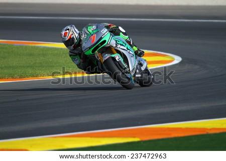 VALENCIA - SPAIN; NOVEMBER 7: Japanese Honda rider Hiroshi Aoyama at 2014 Generali MotoGP of Valencia on November 7, 2014 - stock photo