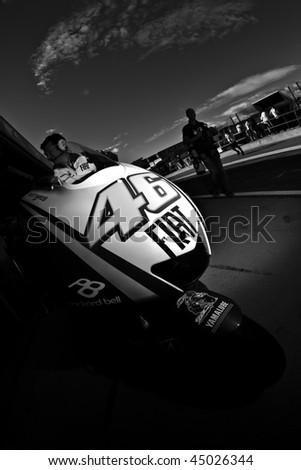 VALENCIA, SPAIN - NOVEMBER 6: MotoGP  Comunitat Valenciana - Valentino Rossi Motorcycle - on November 6, 2009 in Valencia, Spain - stock photo