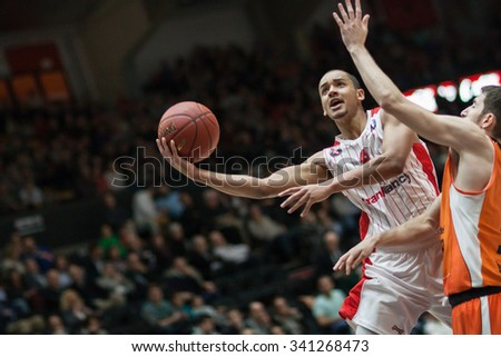 VALENCIA, SPAIN - NOVEMBER 18th: Sene (L) in action during Eurocup between Valencia Basket Club and Sluc Nancy at Fonteta Stadium on November 18, 2015 in Valencia, Spain - stock photo