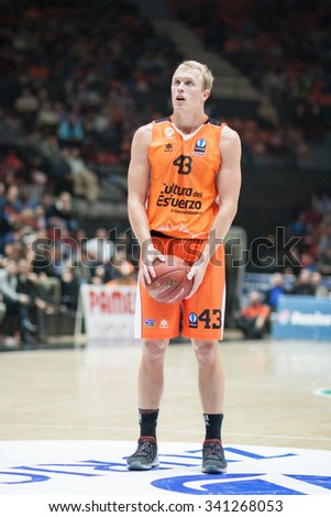 VALENCIA, SPAIN - NOVEMBER 18th: Sikma during Eurocup between Valencia Basket Club and Sluc Nancy at Fonteta Stadium on November 18, 2015 in Valencia, Spain - stock photo