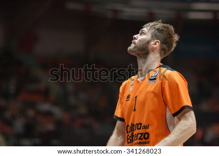 VALENCIA, SPAIN - NOVEMBER 18th: Stefansson during Eurocup between Valencia Basket Club and Sluc Nancy at Fonteta Stadium on November 18, 2015 in Valencia, Spain - stock photo