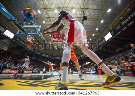 VALENCIA, SPAIN - NOVEMBER 18th: Sy during Eurocup between Valencia Basket Club and Sluc Nancy at Fonteta Stadium on November 18, 2015 in Valencia, Spain - stock photo
