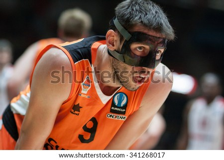 VALENCIA, SPAIN - NOVEMBER 18th: Van Rossom during Eurocup between Valencia Basket Club and Sluc Nancy at Fonteta Stadium on November 18, 2015 in Valencia, Spain - stock photo