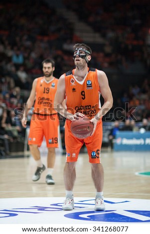 VALENCIA, SPAIN - NOVEMBER 18th: Van Rossom with ball during Eurocup between Valencia Basket Club and Sluc Nancy at Fonteta Stadium on November 18, 2015 in Valencia, Spain - stock photo