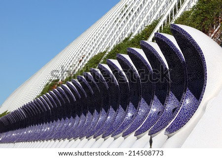 VALENCIA, SPAIN - OCT 8: L'Umbracle building the City of Arts and Sciences. October 8, 2011 in Valencia, Spain - stock photo