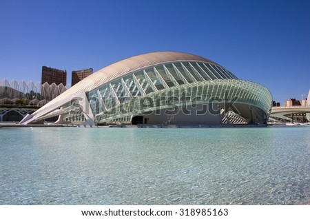 VALENCIA, SPAIN - OCTOBER 08, 2014: L'Hemisferic, a IMAX 3D-cinema, planetarium and laserium in the City of Arts and Sciences (Ciudad de las artes y las ciencias) in Valencia, Spain - stock photo