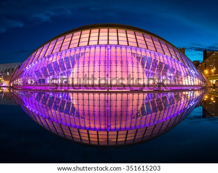 Valencia, Spain - October 23, 2015: The Hemisferic by night in the City of Arts and Sciences, on October 23,2015, in Valencia, Spain - stock photo