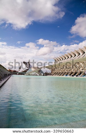 VALENCIA, SPAIN - sept 8, 2015: detail of City of Arts and Sciences of Valencia in Spain. - stock photo