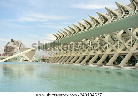 VALENCIA, SPAIN - SEPT 10: The city of the Arts and Sciences. September 10, 2014 in Valencia. Every year,Valencia welcomes more than 4 million visitors.  - stock photo