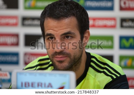 Valencia, Spain, September 8, 2014: Cesc Fabregas during EURO 2016 Group C European Qualifiers game between Spain and Macedonia at Estadio Ciutat de Valencia on September 8, 2014 in Valencia, Spain - stock photo
