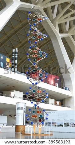 Valencia, Spain, September, 07, 2015, exhibition in Museum of Science Prince Felipe, The model of the DNA helix, editorial. - stock photo