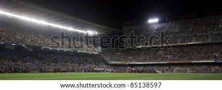 VALENCIA, SPAIN - SEPTEMBER 21: Stadium Panoramic view in the Spanish Soccer League between Valencia C.F. vs F.C. Barcelona - Mestalla Luis Casanova Stadium - Spain on September 21, 2011 - stock photo