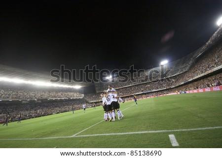 VALENCIA, SPAIN - SEPTEMBER 21 : Valencia Team in the Spanish Soccer League between Valencia C.F. vs F.C. Barcelona - Mestalla Luis Casanova Stadium - Spain on September 21, 2011 - stock photo