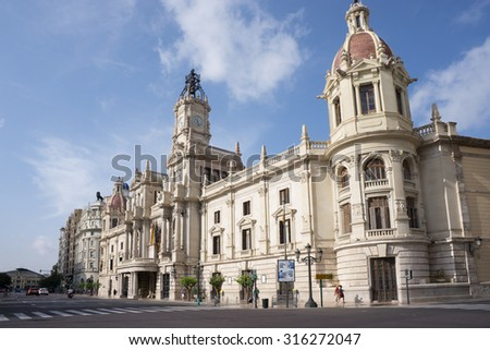 VALENCIA, SPAIN - SEPTEMBER 12, 2015:  View of Placa del Ajuntament - the city hall  of Valencia. Valencia is the capital of the autonomous community of Valencia and the third largest city in Spain. - stock photo