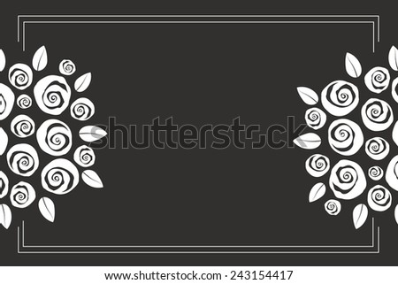 Valentine and wedding themed border bouquet of swirly roses - stock photo